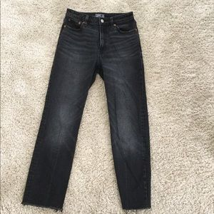 A&F faded black high waist cropped straight jeans
